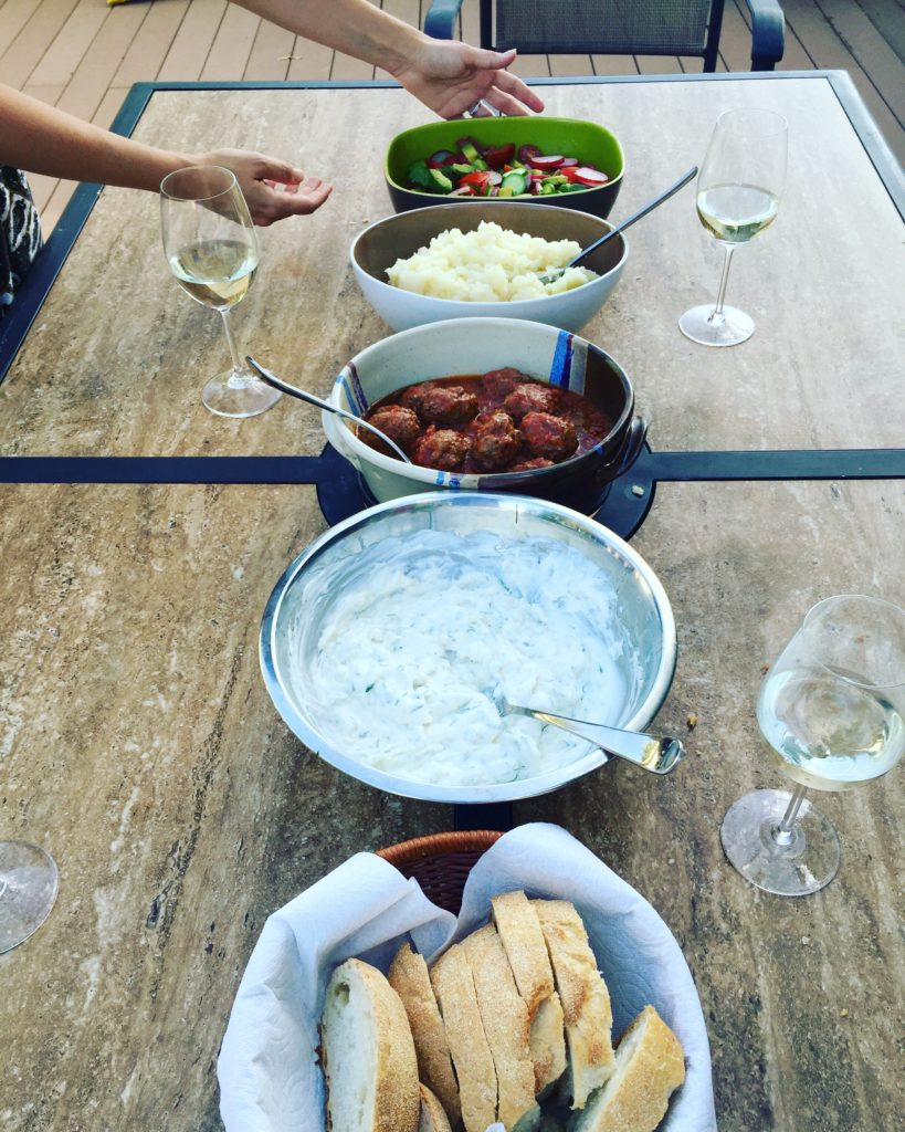 Tzatziki works with virtually any Greek dish. Here we are preparing for dinner at my brother's patio in Denver.