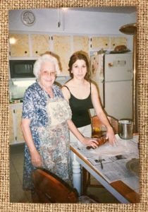 Yiayia Aphrodite and I baking Karpathian spinach pies in her kitchen, Christmas 1997