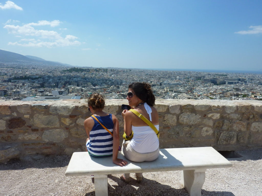 Michel took this photo of us enjoying the breathtaking view from the Acropolis - it was Anna's first time there.