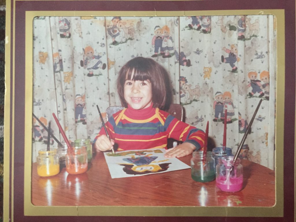 I think this was preK in 1982... the paintbrush was place in my right hand for the pose, though I'm clearly left handed.