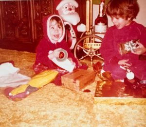 George and I on Christmas morning, Pireaus, 1979... not sure who I am pointing to, but it looks exciting